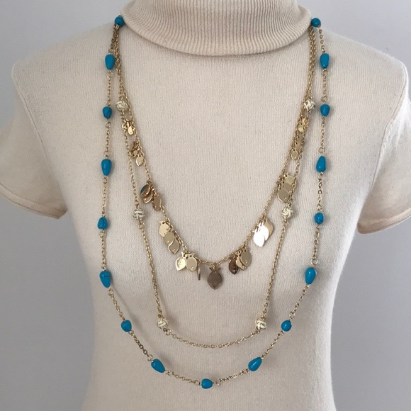 Lilly Pulitzer Gold/ Blue Bead & Fish Necklace